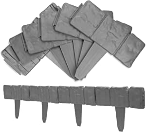 ARISKEY Garden Plastic Fence Edging, 10Pcs Fence Stone Hammer in Lawn Edging Spring Yard Lawn Garden Plastic Faux Stone Patio Fence Garden Decor Flower Grass Bed Border for Landscaping Walkways- Gray