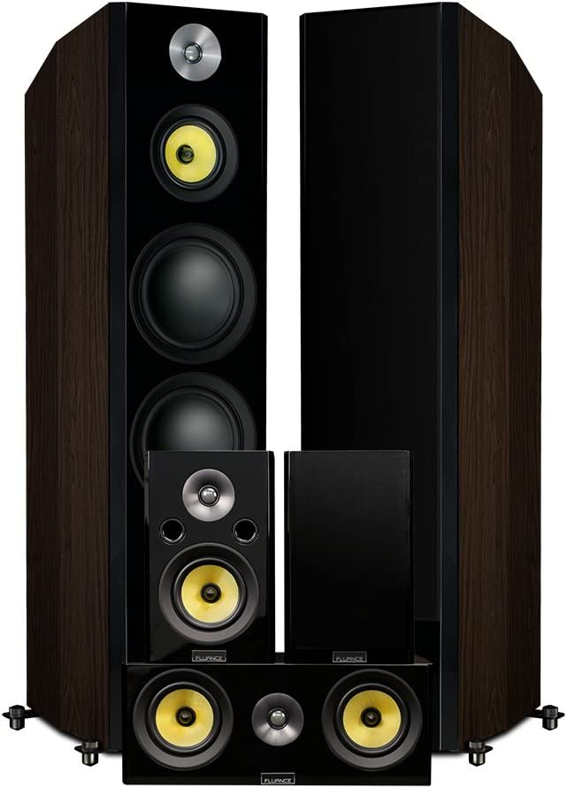 Fluance Signature Series Hi-Fi 5.0 Surround Sound Home Theater Speaker System Including Three-Way Floorstanding Towers, Center & Rear Speakers (HFHTBW)