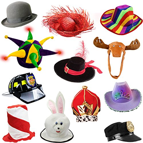 6 Assorted Dress Up Costume Party Hats By Funny