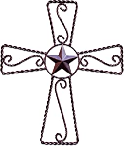Metal Cross Wall Décor – Rustic Iron Home Art Decorations, Large Texas Country Western Scroll Barn Star Decoration for Living Room or Outdoor, Vintage Hanging Crosses and Stars (Brown, 20