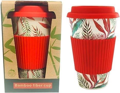 Lot de 2 350 ml réutilisables Bambou Fibre Ecoffee tasses thé café de voyage tasses Bleu