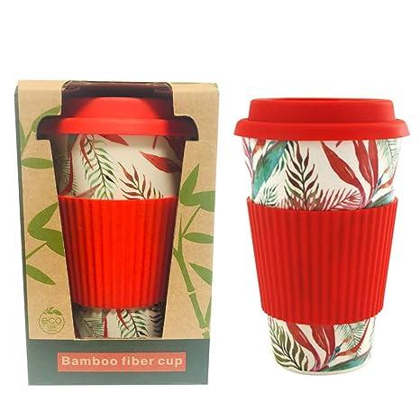 LidSilicone SleeveNatural Rubber With Bmbusa Organic Cup Fiber Coffee Reusable Bamboo Eco Mug Travel JcF1TlK3