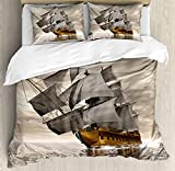 Ocean Duvet Cover Set King Size by Ambesonne, 3D Style Pirate Ship Sea Historic Vessel Cloudy Sky Voyage Exploration Theme, Decorative 3 Piece Bedding Set with 2 Pillow Shams, Grey Pale Coffee