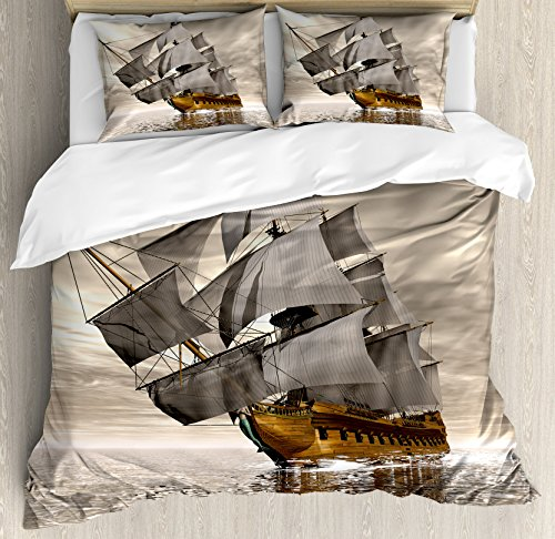 (Ambesonne Ocean Duvet Cover Set King Size, 3D Style Pirate Ship Sea Historic Vessel Cloudy Sky Voyage Exploration Theme, Decorative 3 Piece Bedding Set with 2 Pillow Shams, Grey Pale Coffee)