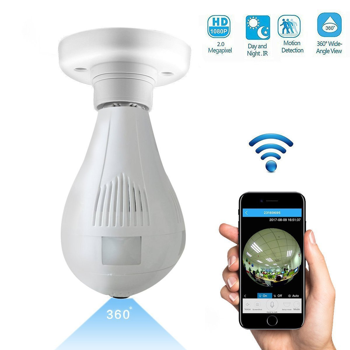 1080P Wifi Wireless IP Bulb Camera with Fisheye Lens 360° Panoramic for Remote Home Security System,Motion Detection and Two Way Talking for iPhone/Android Phone/iPad (1080P)