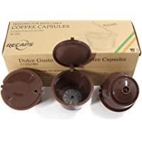 RECAPS Nachfüllbare Kaffee Kapsel wiederverwendbar mehr als 100 mal Kompatibel Mit Nescafe Dolce Gusto Brewers 3 Pack | Kompatibel mit Mini Me, Genio, Piccolo, Esperta und Circolo