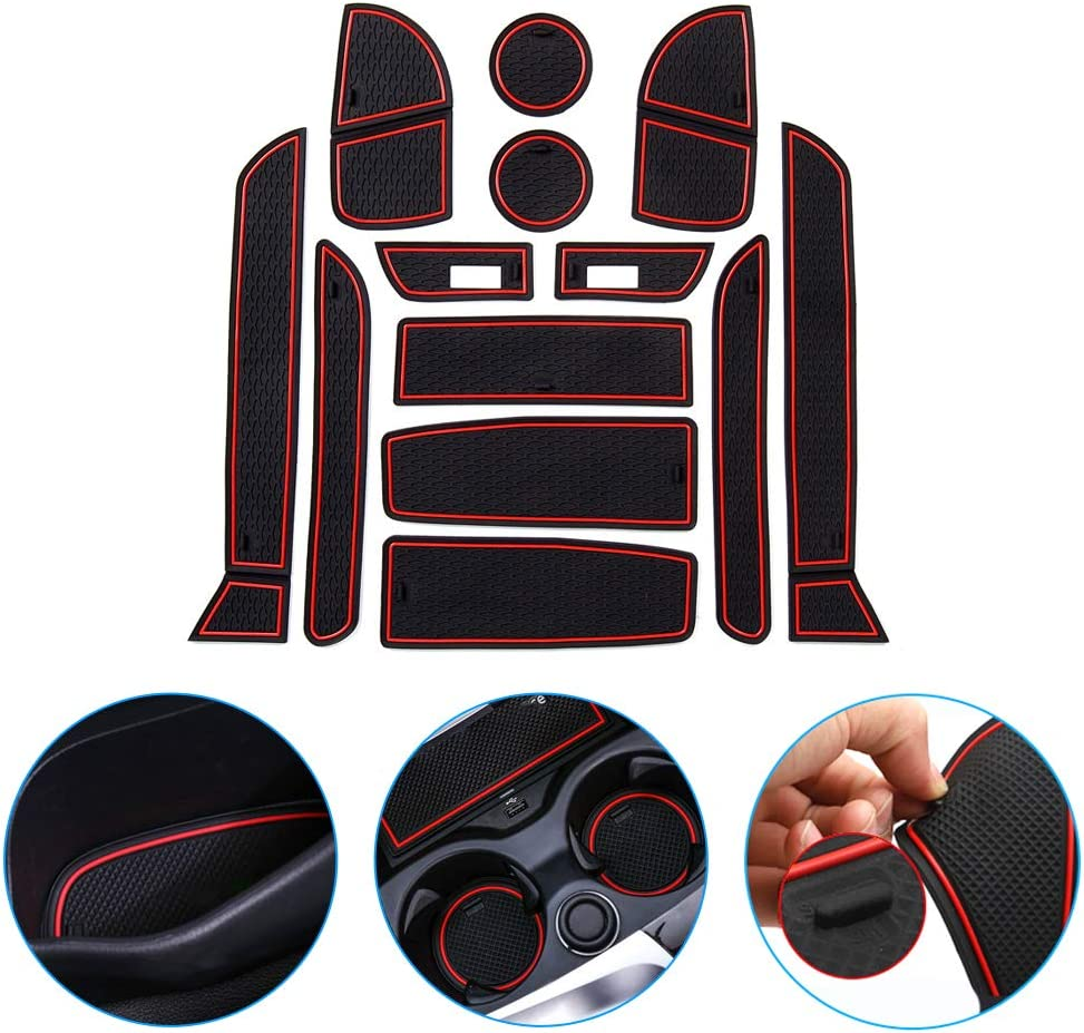 Car Groove Mats For B M W 3 Series F30 2012-2018 Door Slot Pad Cup Holder Mat Rubber Interior Accessories Non-slip Anti-dust Mats Red