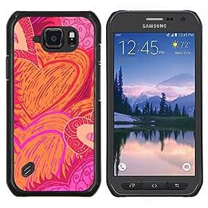Caucho caso de Shell duro de la cubierta de accesorios de protección BY RAYDREAMMM - Samsung Galaxy S6Active Active G890A - Patrón de amor de San Valentín Rosa Naranja