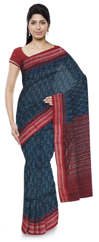 Blue Color Women's Ikat Cotton Saree