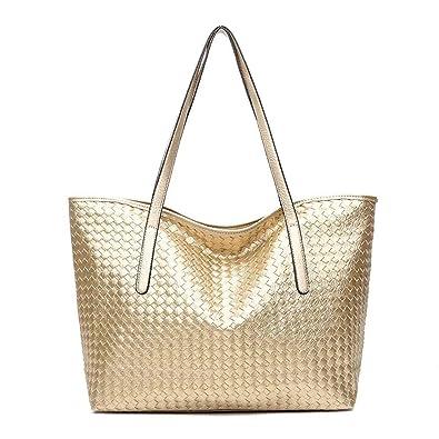 61fc4c61156 Amazon.com  Black Deals Friday Sales Deals-Women Large Shoulder Bag Weave  Handbag Tote(gold)  Shoes