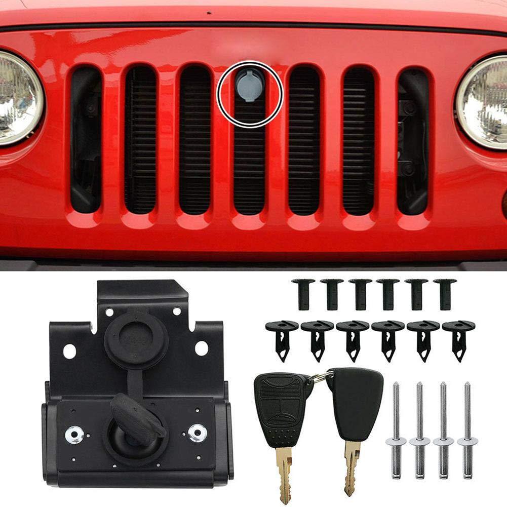 Febelle Juego de Bloqueo de Seguridad para cap/ó de Motor Montaje antirrobo para Jeep Wrangler JK 07-18 con Llave