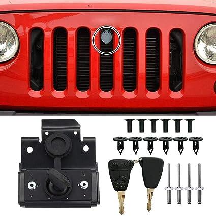 For Jeep Wrangler JK 07-18 Security Hood Lock Set Kit Engine Anti-Theft Assembly