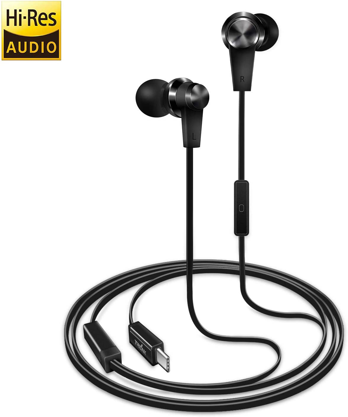 TriLink USB Tipo C Auriculares de botón(DAC Chipset) Auriculares In Ear con Micrófono para iPad Pro/MacBook, Huawei P30/P20/Pro/Mate 20/Mate 10, OnePlus 6/6T/5/5T, Xiaomi, Google Pixel 3/3XL, HTC U12