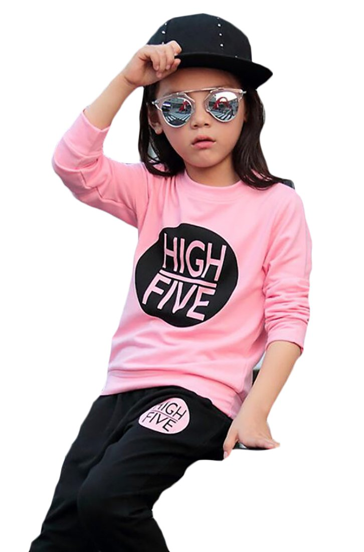 lovever Little Girls New Letters Printed Slim Fit Top +Casual Pant Tracksuit Sets Pink 7T