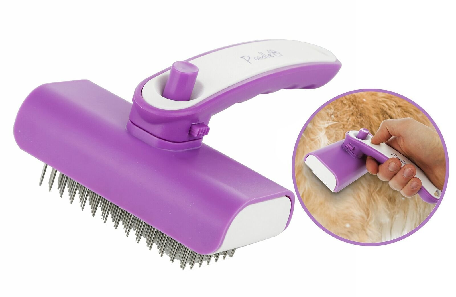 Poodle Pet Self-Cleaning Retractable Steel Pin Grooming Brush for Dogs, Cats, Horses, Rabbits & More, Durable 6.5'' x 5'' Easy Clean Shedding Groom Comb with Retracting Bristle Cleaner