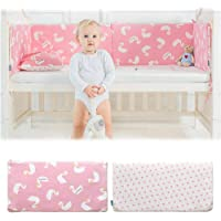 Baby Cotton Collection Breathable Crib Bumper Pads for Standard Cribs Machine Washable Colorful Set for Baby Boys Girls Safe Bumper Guards