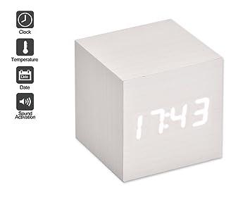 DSstyles LED Alarma Reloj de madera digital reloj despertador madera cubo reloj con activación por voz, fecha tiempo y temperatura pantalla función de ...