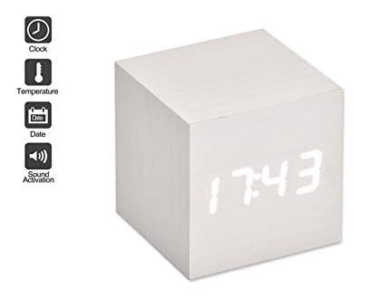 DSstyles LED Alarma Reloj de madera digital reloj despertador madera cubo reloj con activación por voz