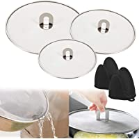 3 Pcs Splatter Screen for Frying Pan, Grease Splatter Guard Stainless Steel Splatter Screen Mesh Pan Pot Lid Cover Oil…