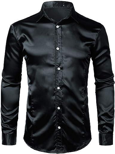 zencardery Elegante Camisa De Satén De Seda Blanca para Hombre Chemise Homme Casual De Manga Larga Slim Fit para Hombre Camisas De Vestir Camisa Masculina De Boda De Negocios: Amazon.es: Ropa y