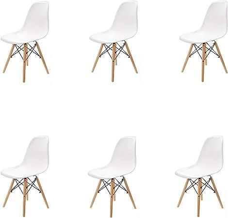 N / A Pack 4/6 sillas, sillas de Comedor Silla de Oficina Silla de salón, Silla diseño nórdico Estilo (Blanco-6): Amazon.es: Hogar