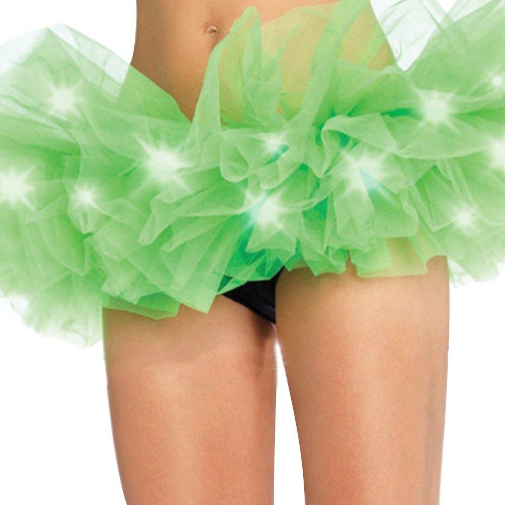 Etbotu Women Bubble Skirt Fashion Sexy Miniskirt with LED Light Multilayer Dance