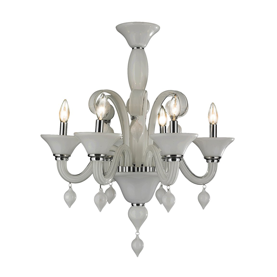 Worldwide Lighting Murano Collection 6 Light Blown Glass in White Finish Venetian Style Chandelier 23'' D x 27'' H Medium