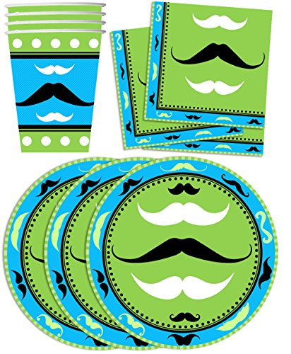 Marvellous Mustache Birthday Party Supplies Set Plates Napkins Cups Tableware Kit for 16