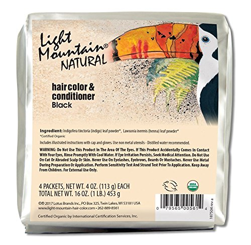 - Light Mountain Natural Bulk Hair Color and Conditioner, Black, 16 Ounce