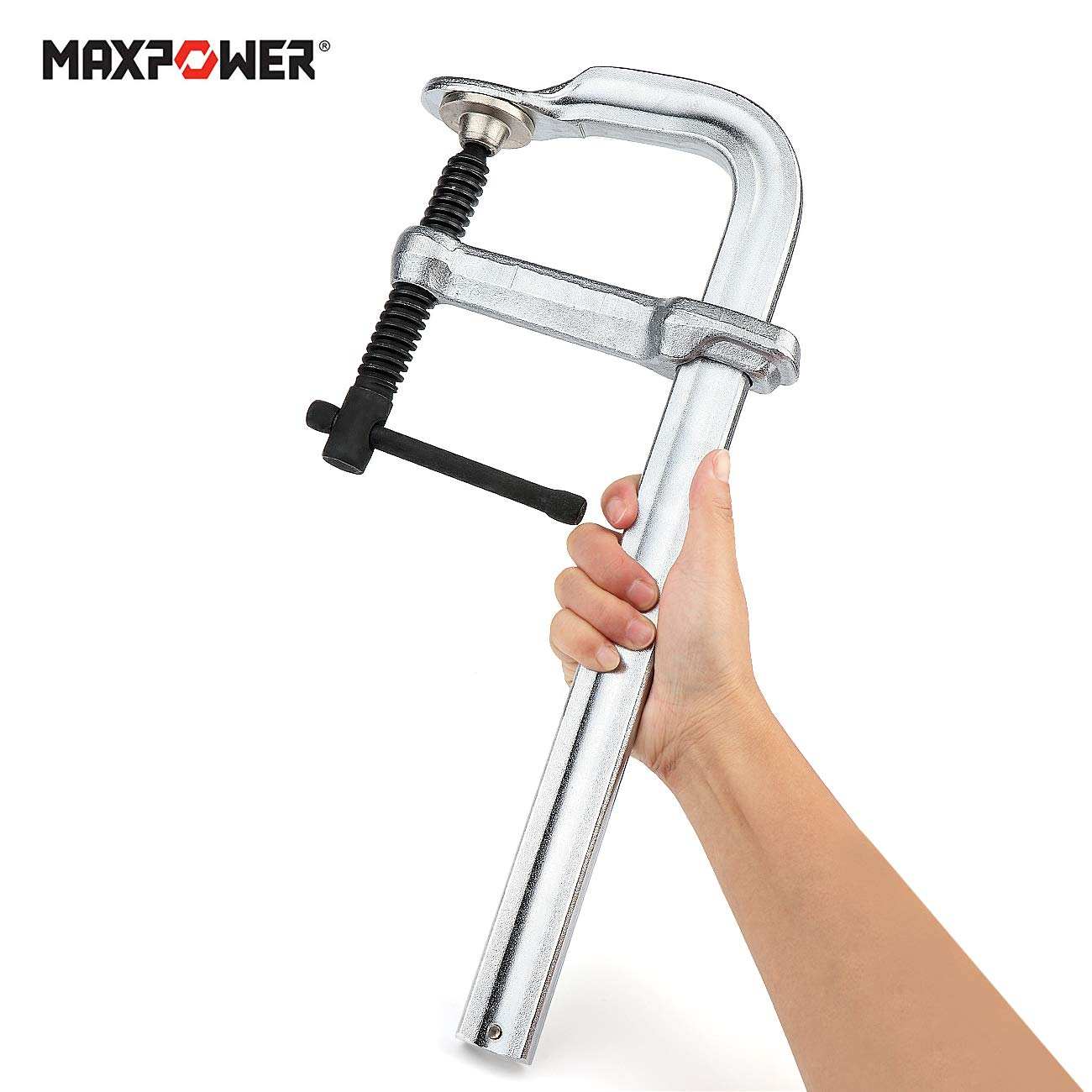 Rail 29.7 x 14.3mm Pack of 2 MAXPOWER Thick Rail F Clamp 12-inch 4-3//4-Inch Throat 300 x 120mm Heavy Duty F Bar Clamp for Welding