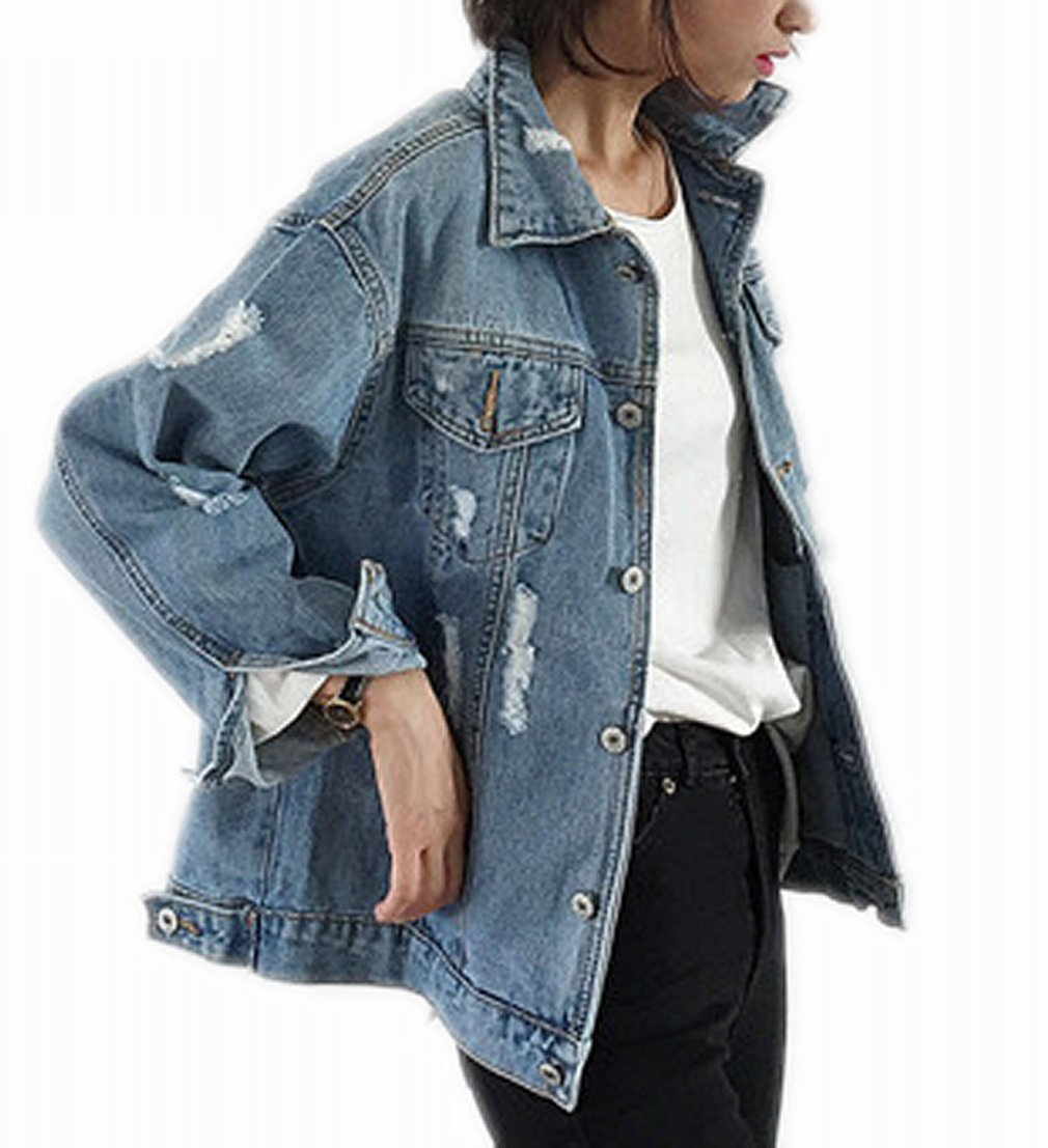 8a30cd6286 Beskie Oversized Denim Jacket for Women Destoryed Long Sleeve Boyfriend  Jean Jacket Loose Coat