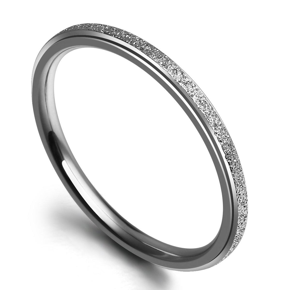 NaNa Chic Jewelry 2mm Titanium Ring Wedding Band Sparkle Sandblast Comfort Fit(7.5)