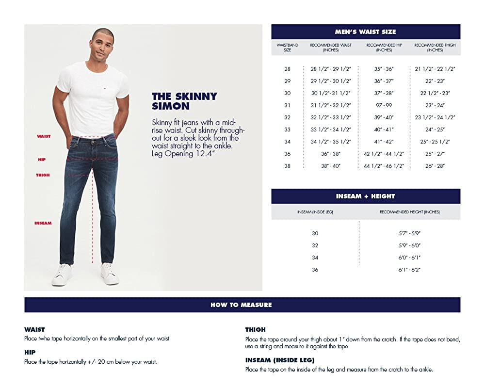 Mens Original Simon Skinny Jeans Chalk Dark Blue Stretch Tommy Hilfiger 28X32
