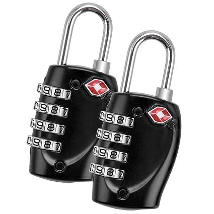 TSA Aprobado cerraduras de equipaje cerradura de combinación, blingco 4 dígitos candados de viaje para
