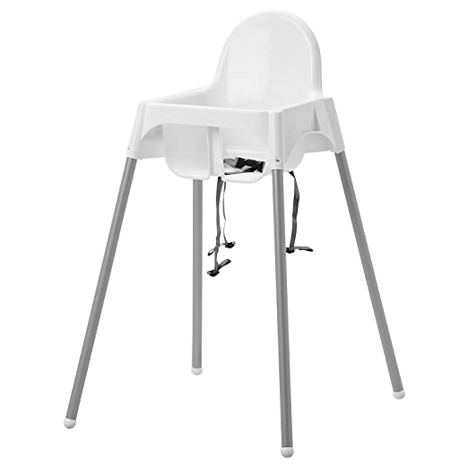 Ikea Antilop Highchair with Tray,safety Belt, White, Silver ...