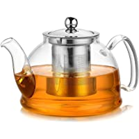 Artcome 1050 ml Glass Teapot with Stainless Steel Infuser & Lid, Stovetop Safe Tea Pot with Flat Bottom, Blooming…