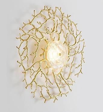 Seeksung Wandlampe, Wohnzimmer Esszimmer Studie Schlafzimmer Lampe, Moderne  Kreative Kupfer Korallen Blume Led (