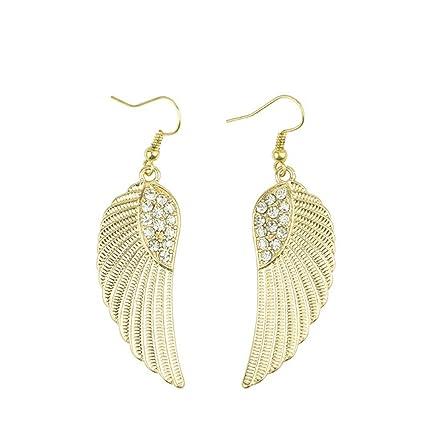 Hosaire Boucles d'oreilles de Femme Elégants Ailes D'ange de forme d'or Marée de strass Boucles oreilles Bijoux Cadeaux