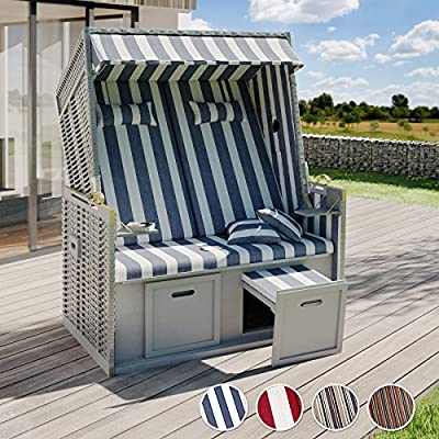 TecTake-Luxury-roofed-Wicker-Beach-Chair-Protective-Cover-2-Cushions-Different-Colours-Striped