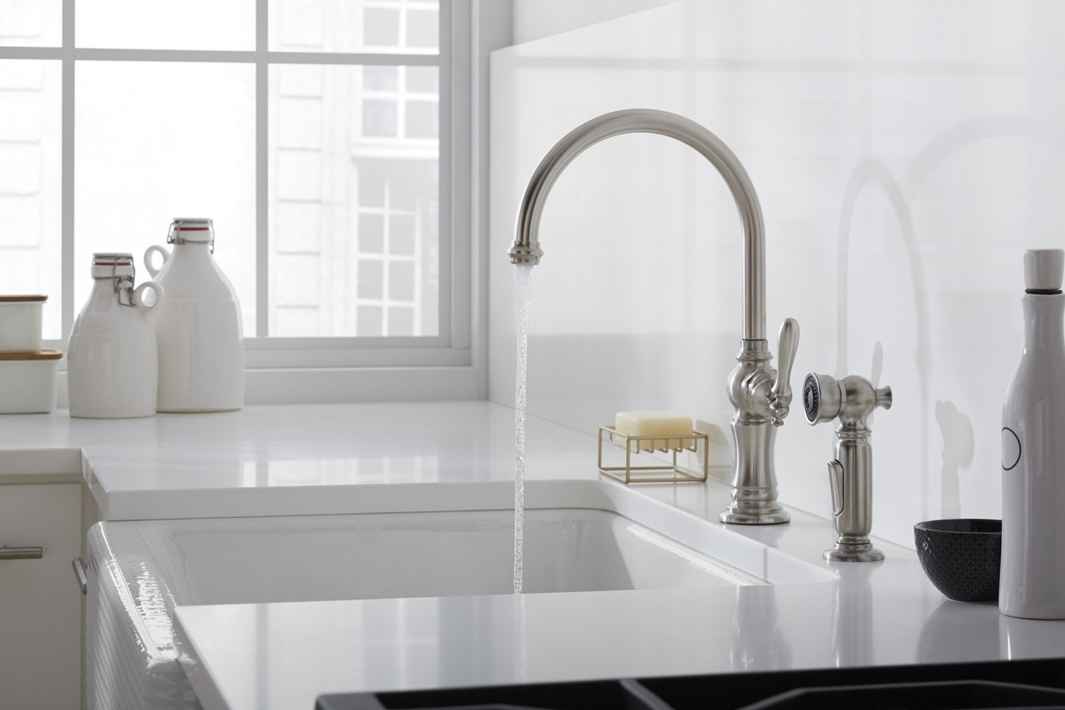 Beautiful KOHLER K 99272 CP Artifacts 3 Hole Kitchen Faucet Escutcheon, Polished  Chrome     Amazon.com