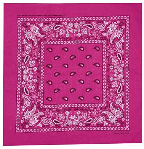 Paisley One Dozen Cowboy Bandanas(Hot Pink)