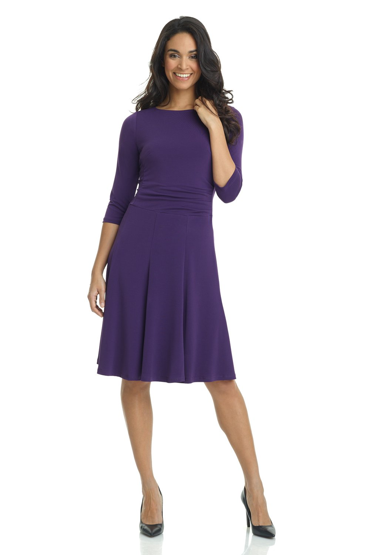 Rekucci Women's Flippy Fit N' Flare Dress with 3/4 Sleeves (6,Aubergine)