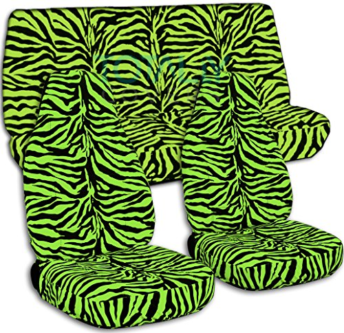 Green Zebra Animal Print - Animal Print Car Seat Covers: Lime Green Zebra - Semi-Custom Fit - Full Set - Will Make Fit Any Car/Truck/Van/SUV (30 Prints)