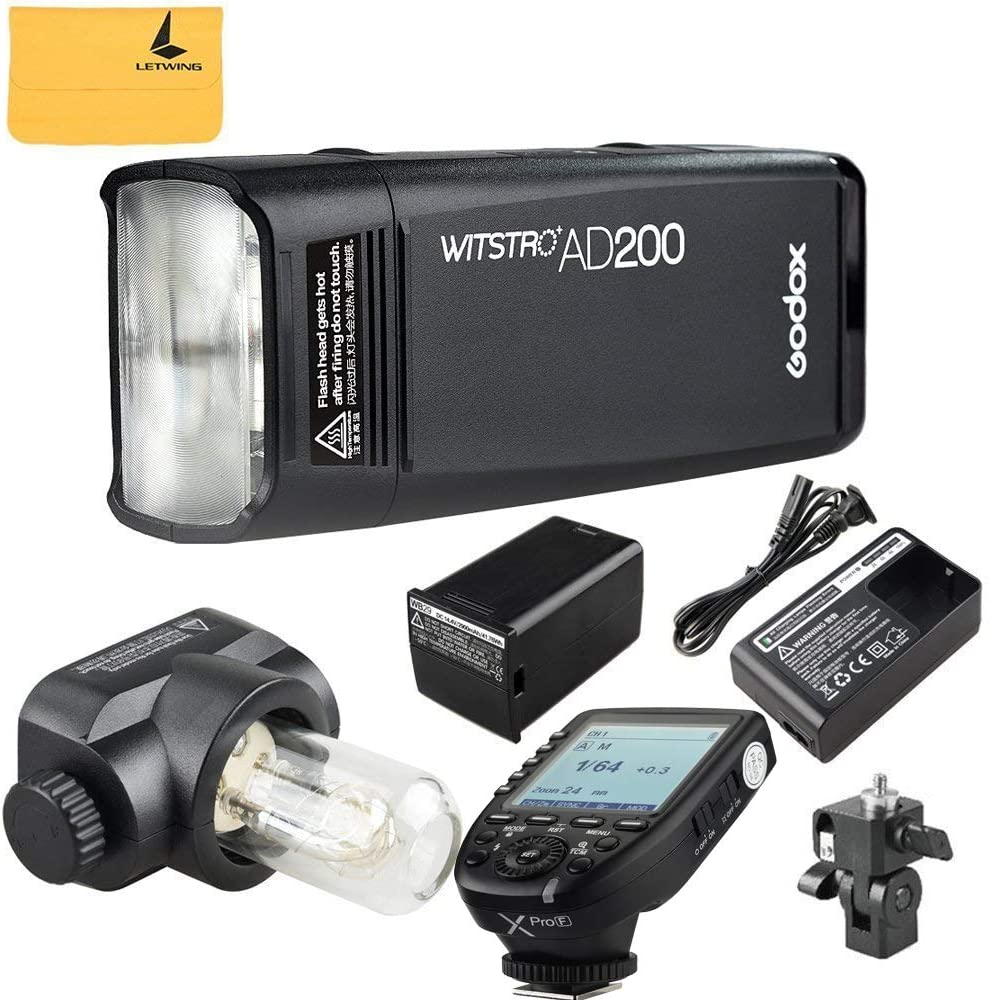Godox AD200 TTL 2.4G HSS 1//8000s Pocket Flash Light Double Head 200Ws with 2900mAh Lithium Battery+Godox XPro-F Flash Trigger Transmitter Compatible for Fuji DSLR Cameras