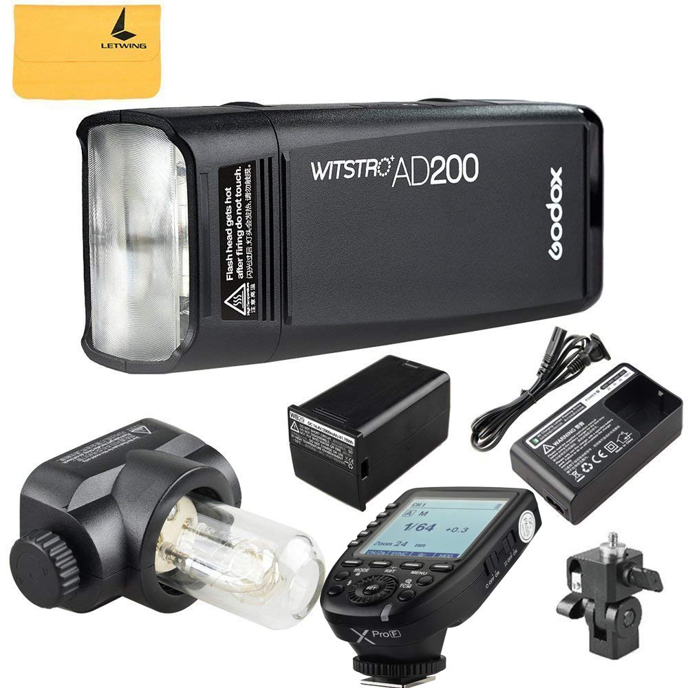 Godox AD200 TTL 2.4G HSS 1/8000s Pocket Flash Light Double Head 200Ws 2900mAh Lithium Battery+Godox XPro-F Flash Trigger Transmitter Compatible for Fuji Cameras by Godox (Image #2)