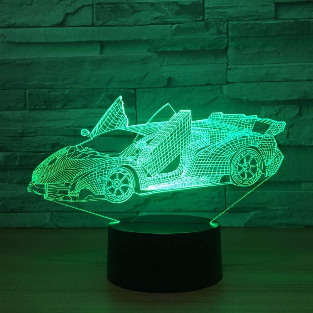 KKXXYD The Sports Car colorful Vision Stereo Led Lamp 3D Night Ligth colorful Lamp Remote Control Atmosphere Lamp Best Toy Gift