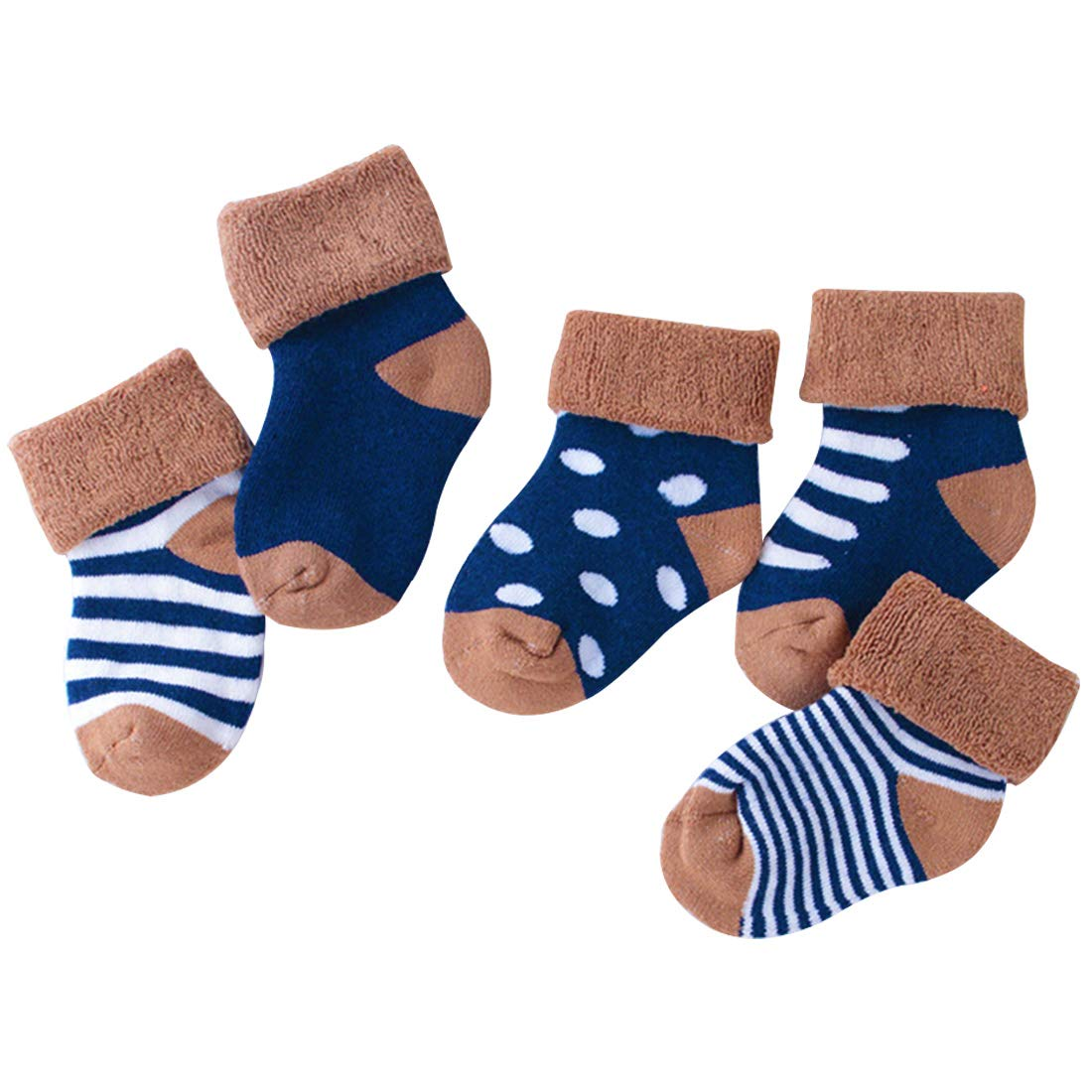 LORYLOLY Socks 5 Pairs for Child 0-1 1-3 Years Thermal Winter Socks for Children Newborn Baby Unisex Multicolored Cotton Natrual Warm and Comfortable