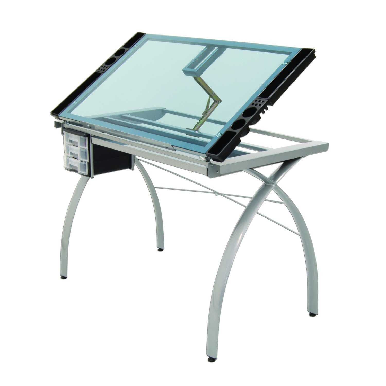 Offex Craft Station Glass, Silver/Blue OF-SD-10050