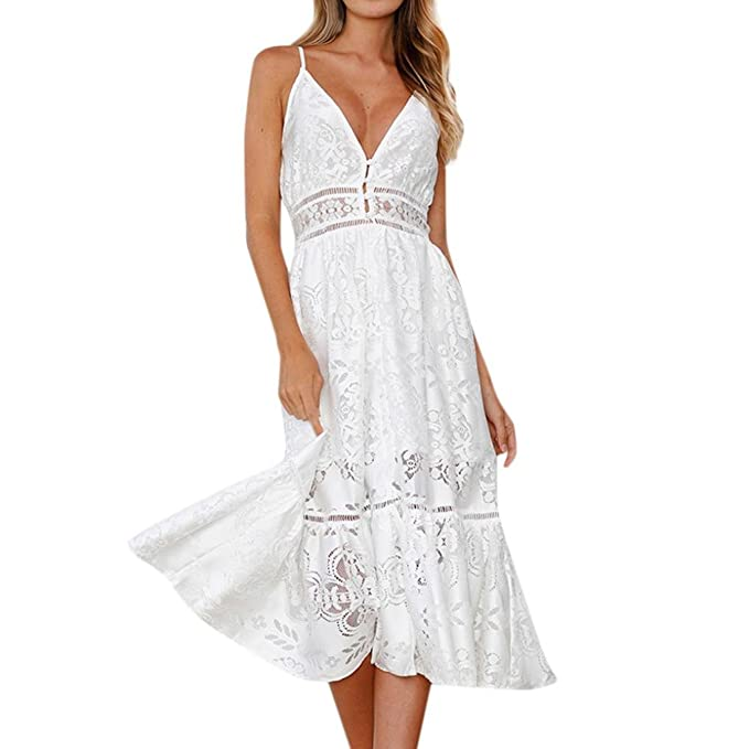 e95ac5c8bdae7 Elogoog Women Dress Women's Summer Spaghetti Strap V Neck Sleeveless Floral  Lace Swing Midi Dress Beach Party Sundress