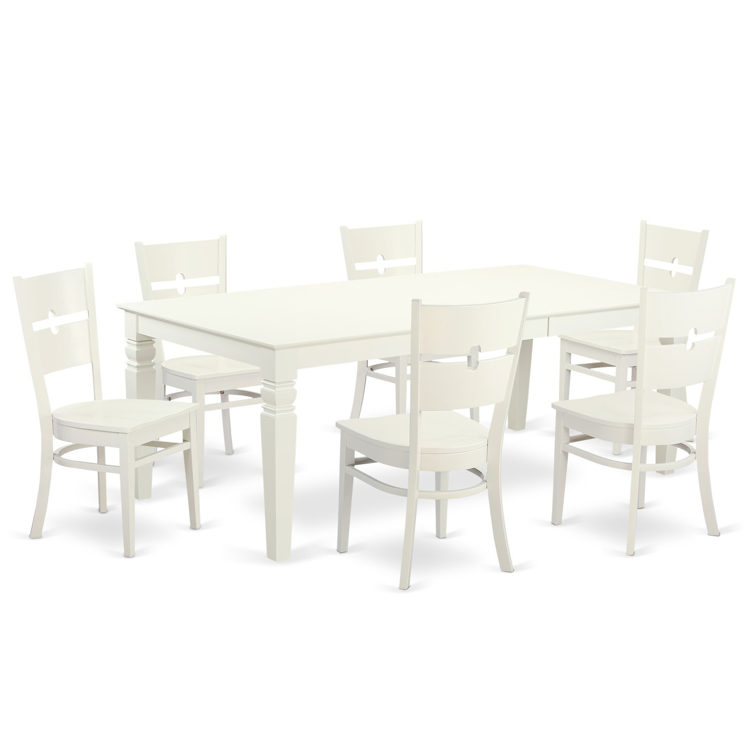 LGRO7-LWH-W 7 Pc Table and chair set with a Dining Table and 6 Dining Chairs in Linen White